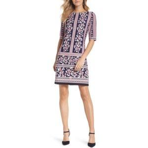 NWT Eliza J- Floral Stripe Shift Dress